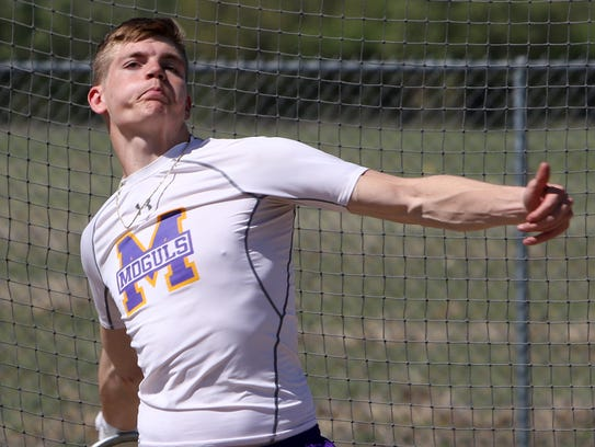 Munday's Kade Sanders competes in the 2A discus throw