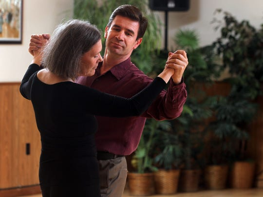Kathy Johnson of Whitehouse takes a daily dance lesson at Ludo's Ballroom Dance School with owner Ludo Belan, February 04 2015 in Whitehouse NJ. Kathy Johnson/staff photographer BRI EST 0209 ballroom dancing