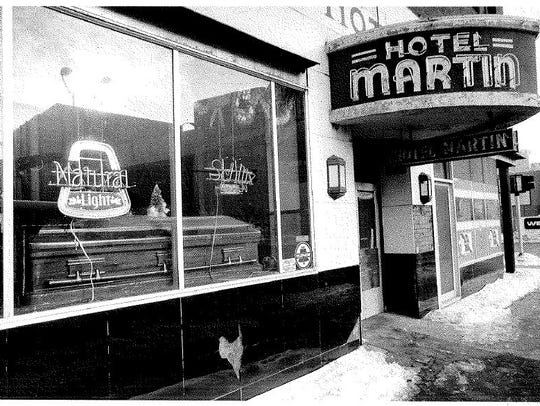 The casket in the front of The Martin Hotel at the
