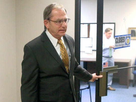 State District Judge Guy Williams talks to the media after a Council of Judges meeting on Wednesday, May 17, 2017, at the Nueces County Courthouse in Corpus Christi.