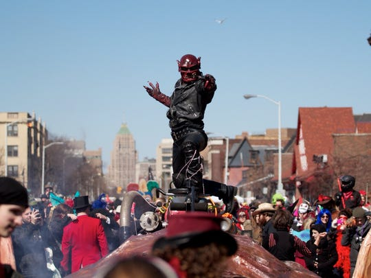 Floats and costumed revelers turn up every year for the Marche du Nain Rouge in the Cass Corridor.