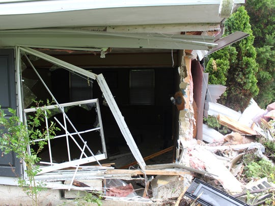A home on Walker Drive in Bear was hit by a car Sunday morning. The home was deemed uninhabitable because of the damage.