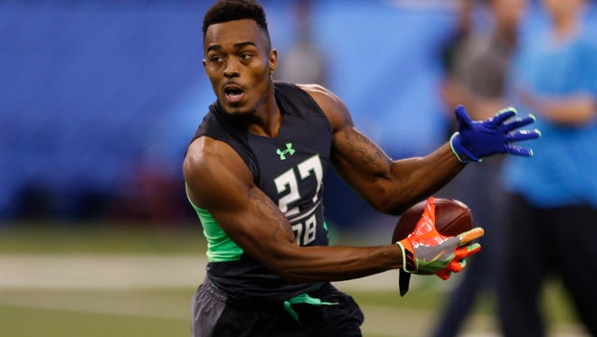 Houston defensive back William Jackson goes through a workout drill during the 2016 NFL Scouting Combine at Lucas Oil Stadium on Feb. 29.