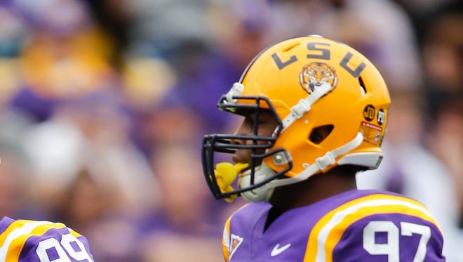 LSU defensive tackle Frank Herron was arrested by campus police on Monday for theft of a bicycle.