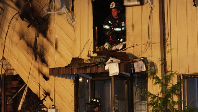 Firefighters battle a blaze at the Knights of Columbus, 114 Route 9W, Congers.