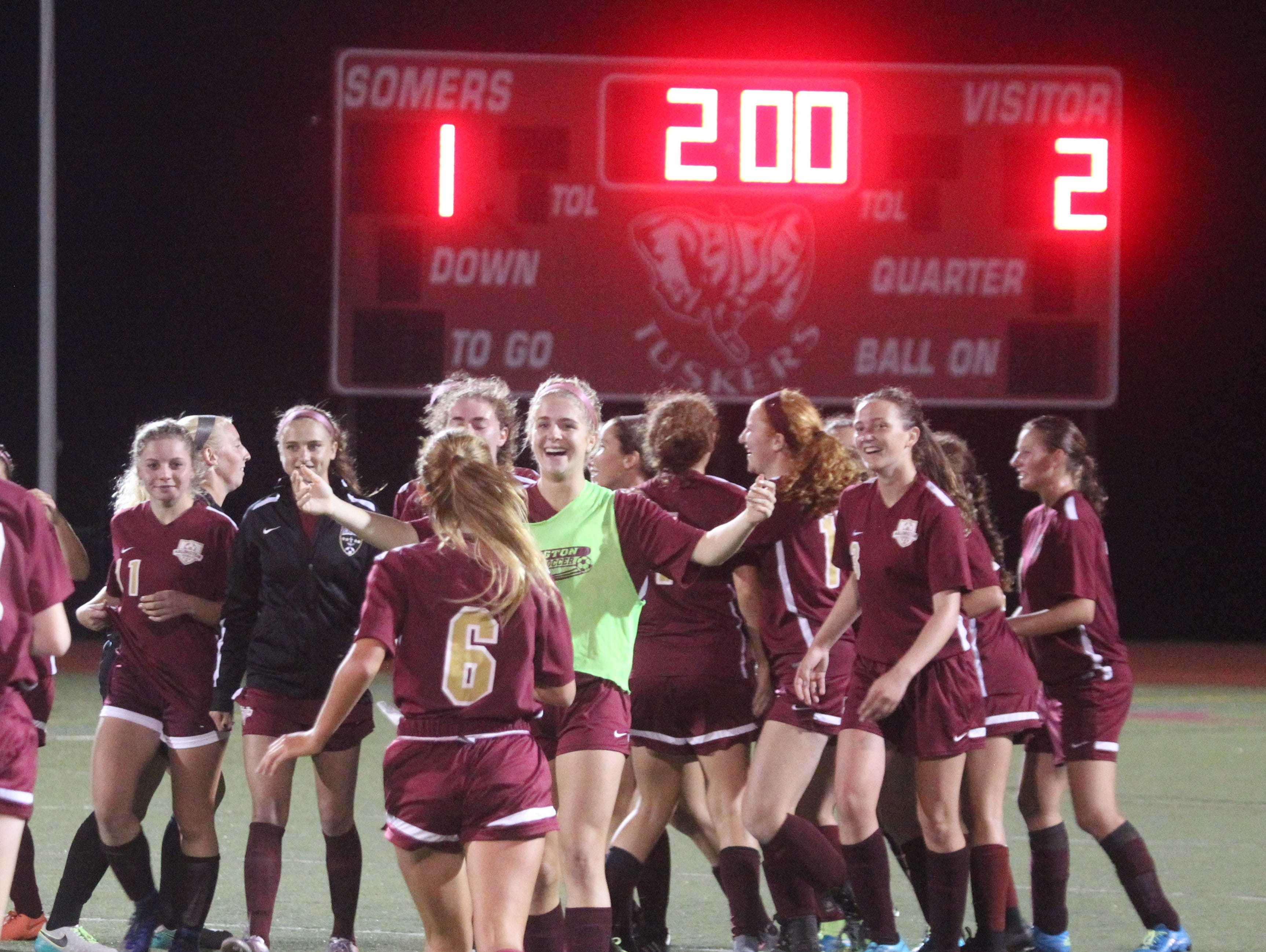 Arlington beat Somers 2-1 in overtime at Somers Oct. 17, 2016.