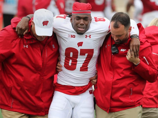 Badgers wide receiver Quintez Cephus is emotional as