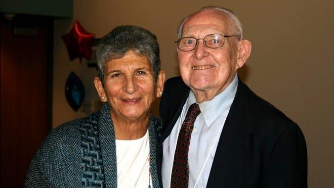 Rose Berberian, the first ever program director at the Farmington YMCA, and Chuck Law, who was instrumental in establishing the Farmington Y, celebrated the Farmington YMCA's 50th anniversary at Botsford Hospital.