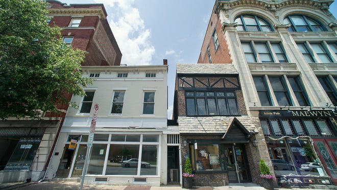 The new location of Handsome Cab (white building, a wine bar, will be located in the former Formpress building at 104-106 North George Street in York. Pictures before renovation of the building begins July 2, 2014.  Paul Kuehnel - Daily Record/Sunday News