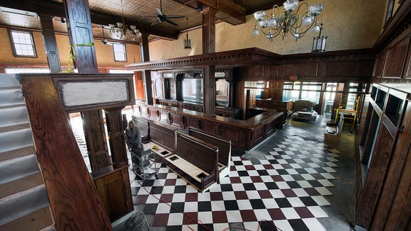 Railings and tile flooring under construction.  Paul Kuehnel - Daily Record/Sunday News