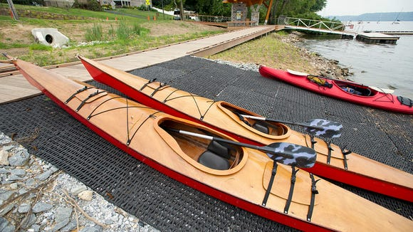 Kayaks lined up at the water access from visitors arriving by the Susquehanna River. Paul Kuehnel - Daily Record/Sunday News