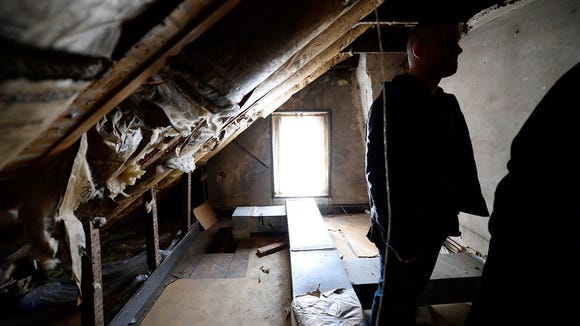 One of two small hotel rooms in the attic at Golden Swan Tavern  in York, which dates back to the early 1800's, Tuesday, February 10, 2015. The building is for sale. Kate Penn -- Daily Record/Sunday News