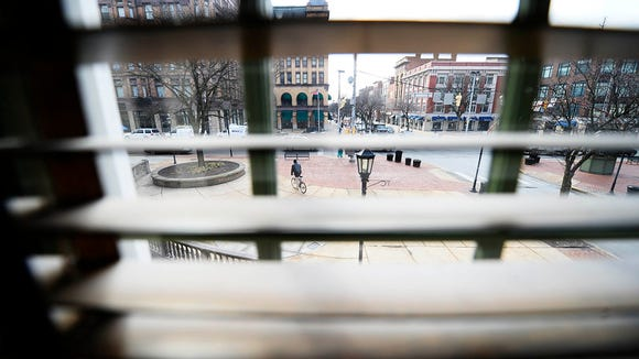 The view from a second floor room onto Continental Square at Golden Swan Tavern  in York, which dates back to the early 1800's, Tuesday, February 10, 2015. The building is for sale. Kate Penn -- Daily Record/Sunday News