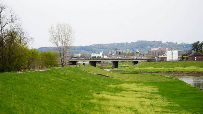 A view of the trail on the day of the official opening of a new section of the Heritage Rail Trail County Park in Springettsbury Township Wednesday, April 22, 2015. The new 2.5 mile section runs from a new bridge over the Codorus Creek at Emig Road in Manchester to a new lot at Loucks Mill Road and Route 30 in Springettsbury Township.    Kate Penn -- Daily Record/Sunday News