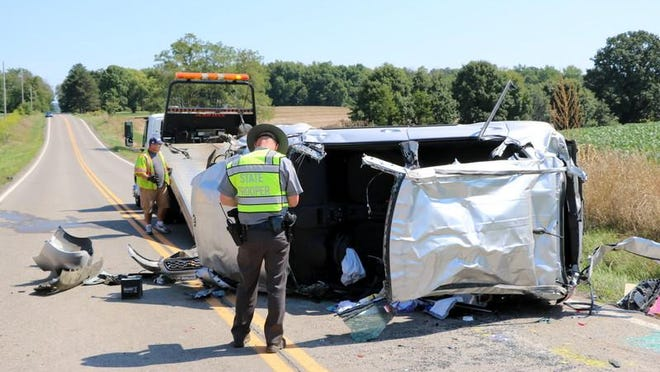 One woman was taken by medical helicopter from the scene of a one-vehicle crash on Ohio 545.