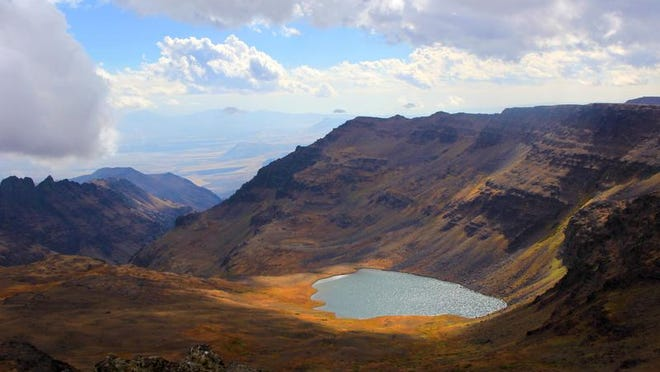 Wildhorse Lake, near the summit of Steens Mountain, shimmers in an alpine basin.