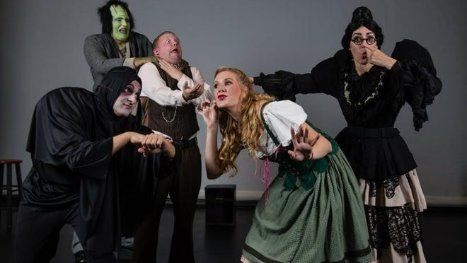"Rocco Palmieri (Igor), Aubrey Flick (Inga), Elaine del Rio (Frau Blucher), Dietz Farcher (Dr. Frankenstein), and Bobby Greffrath (Monster) perform in ""Young Frankenstein"" at The Center for Performing Arts in Rhinebeck opening Oct. 14."