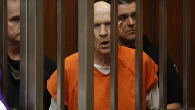 FILE - In this March 12, 2020, file photo, Joseph James DeAngelo, charged with being the Golden State Killer, appears in court in Sacramento, Calif. The 74-year-old former police officer is tentatively set to plead guilty Monday, June 29, 2020, to being the elusive Golden State Killer. The hearing comes 40 years after a sadistic suburban rapist terrorized California in what investigators only later realized were a series of linked assaults and slayings.