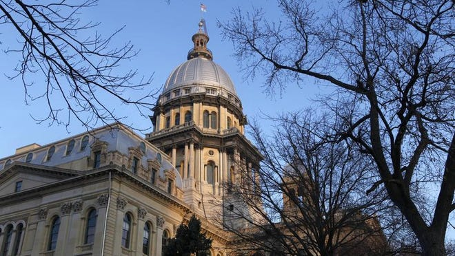 The Illinois Statehouse in Springfield. A survey showed most people think the state is moving the wrong direction. However, the percentage of people who think Illinois is headed the right way has doubled.