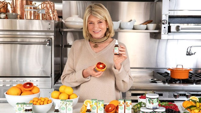 Martha Stewart modeling her namesake line of CBD products and ingredients.