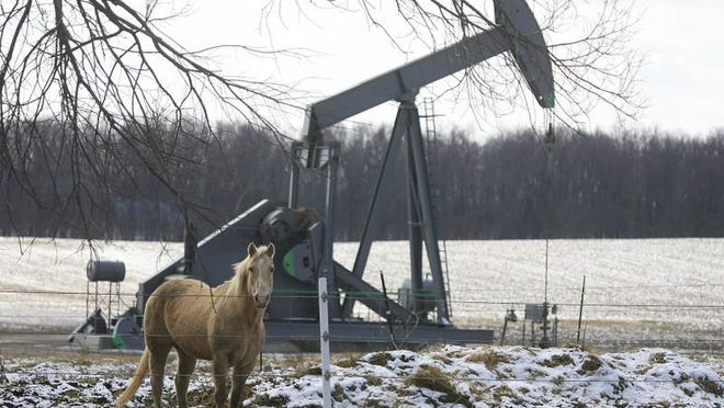 A horse shares its space with an oil well at Tipton Highway and Moore Road in Adrian.