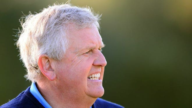 Colin Montgomerie has a one-shot lead after Round 2 of the ACE Group Classic at TwinEagles Golf Club in Naples.