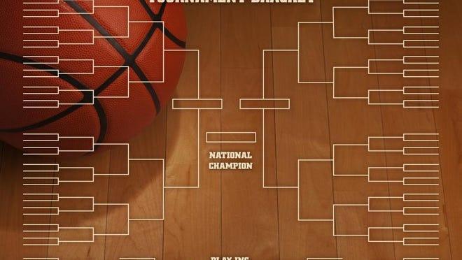 Basketball tournament bracket with spot lighting on wood gym floor