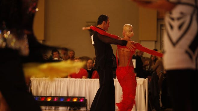 """In a scene from the fourth episode of """"Ballroom Blitz,"""" Rose and Yavor dance at a competition."""