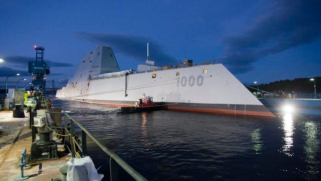 In this 2013 image provided by the U.S. Navy, the USS Zumwalt   is floated out of dry dock.