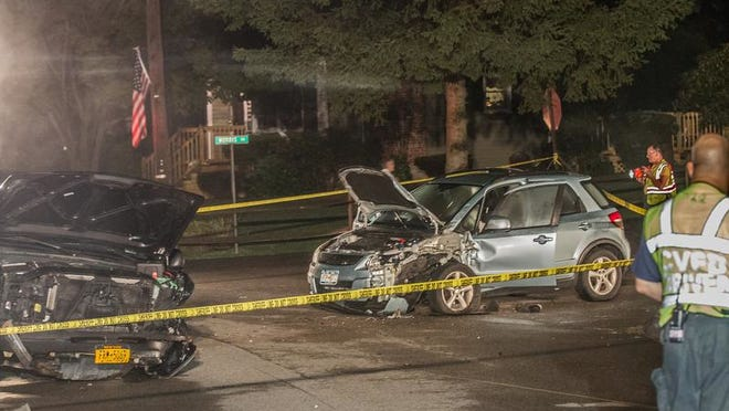 These cars collided Wednesday evening on Aqueduct Road near Morris Road in Continental Village.