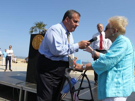 Rose Corcoran, 92, of Spring Lake Heights tells Gov.