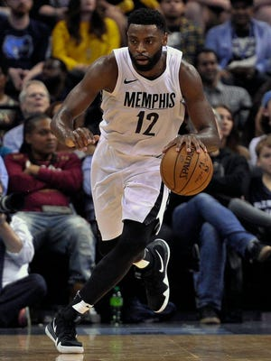 Memphis Grizzlies guard Tyreke Evans (12) brings the ball up court during the second half against the Cleveland Cavaliers at FedExForum. Cleveland Cavaliers defeated the Memphis Grizzlies 112-89.