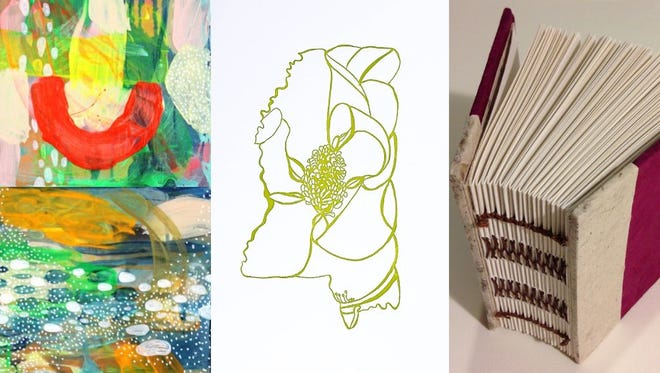 From left to right: Paintings by Kristen Ley of Thimblepress; print by Thimblepress; book by the Purple Word Center for Book & Paper Arts