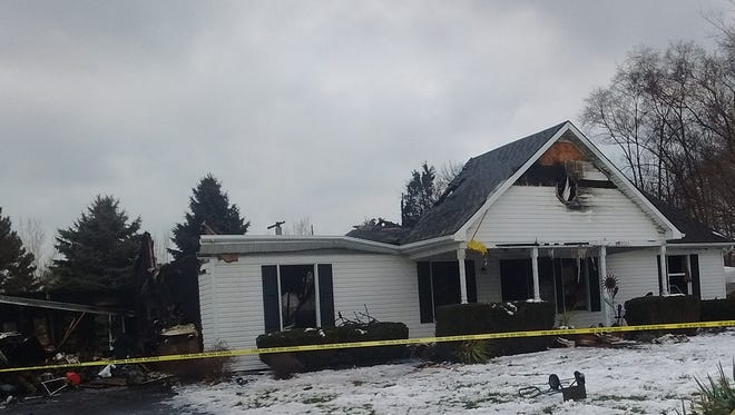 A house on Twin Beach Road in Catawba Island Township sustained severe structure damage after catching fire at 4:28 a.m. Monday.