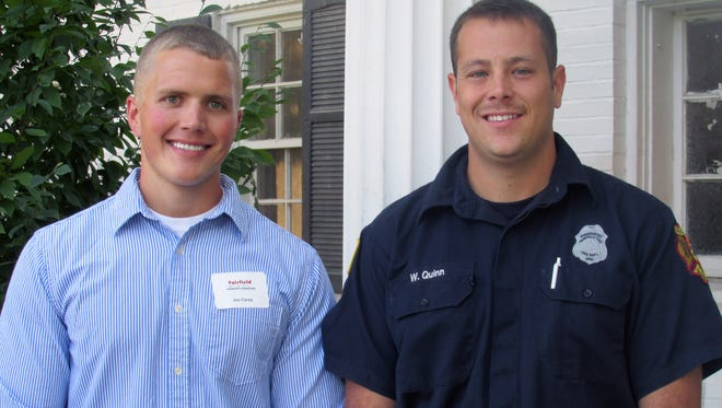 Firefighters Joseph Carey and William Quinn each received a $1,000 Assistant Chief Paul McKendry Memorial Scholarship from the Fairfield Community Foundation.