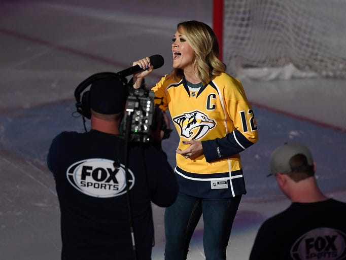 Carrie Underwood, wife of Predators captain Mike Fisher,