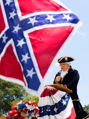 Bill Elder, portraying George Washington, the first President of the United States, delivers Washington's farewell address Sunday during a reenactment of the American Civil War at the Cape Coral Historical Museum.