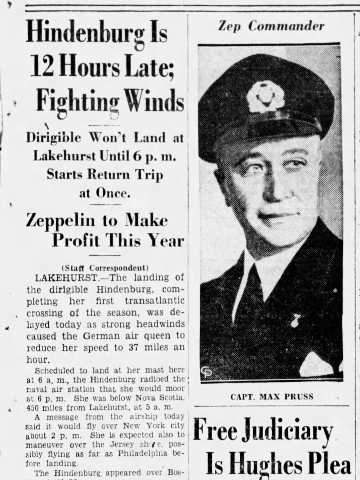 Asbury Park Press front page article from May 6, 1937, informing readers that the Hindenburg would be delayed at least 12 hours.