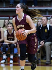 Gibson Southern's Tabatha Klem (20) looks to make a