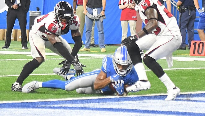 Detroit's Golden Tate makes a reception, which was initially ruled a touchdown late in the fourth quarter. After review the play was ruled that Tate's knee was down short of the end zone and the game ended on a running clock because Detroit had no timeouts remaining.