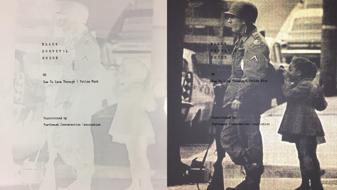 """This is the first panel in Hank Willis Thomas's """"Black Survival Guide, or How to Live Through a Police Riot,"""" a 2018 screen print on retroreflective vinyl with aluminum backing, Commissioned by the Delaware Art Museum. It uses a photograph of Wilmington riots and National Guard Occupation by a News Journal photograph and text from a Northeast Conservation Association pamphlet from the Delaware Historical Society."""