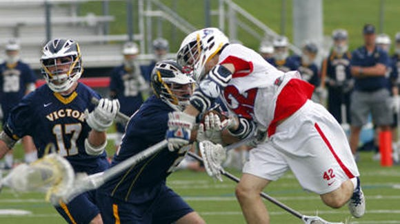 Fairport's Cameron Gebhardt during a game versus Victor earlier this month.
