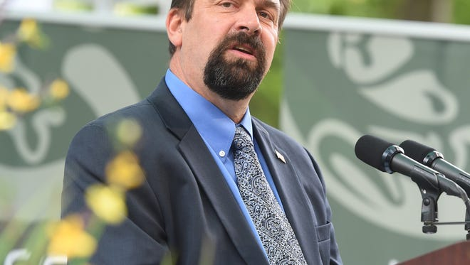 CSU President Tony Frank delivers his fall address at the CSU Oval, Wednesday Sept. 10, 2014.