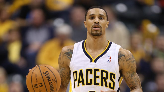 Indiana Pacers guard George Hill (3) brings the ball up court against the Portland Trail Blazers.