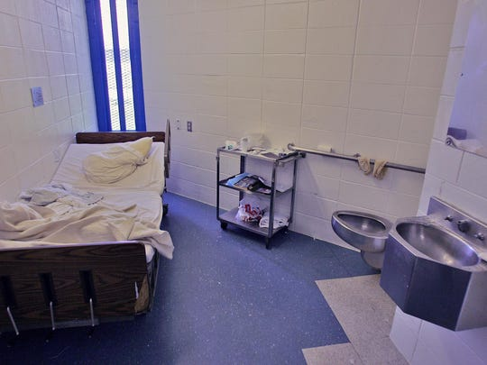 A room in the infirmary at Gander Hill prison. Inmate