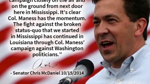 McDaniel endorses Maness