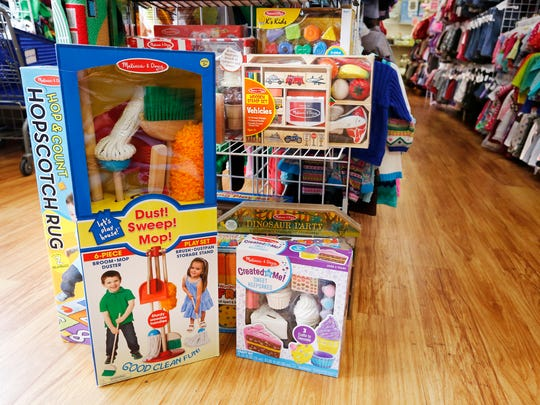 A variety of Melissa & Doug toys can be found among