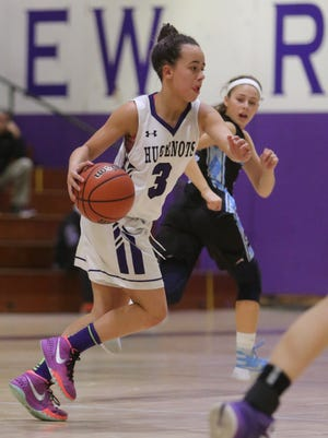 New Rochelle's Kayla Correa during action against Suffern at New Rochelle High School, Jan. 29, 2016. New Rochelle beat Suffern, 46-42.