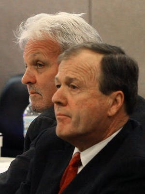 James Habel, left, sits next to his onetime attorney, Robert A. Honecker, during his misconduct trial in Monmouth County Superior Court.