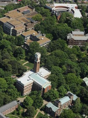 An aerial view of Vanderbilt University